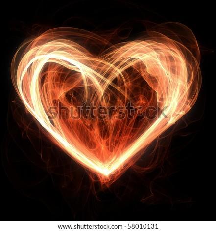 flames making a heart shape - stock photo