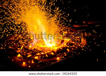 Flames of fire in the smithy