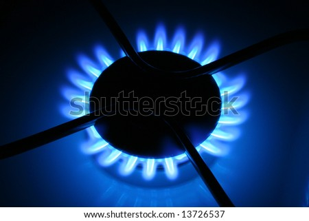 Flames of gas, isolated on black background - stock photo