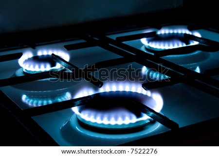Flames of gas stove. - stock photo