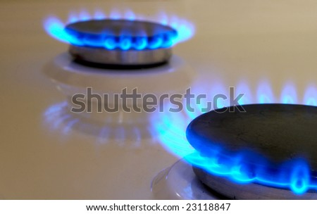 Flames of gas stove. Soft focus - stock photo