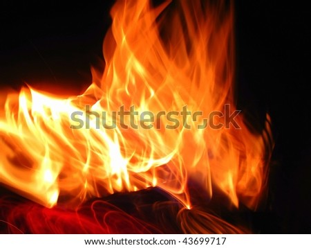 flames producing a great deal of heat - stock photo