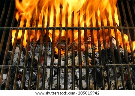 Flaming BBQ Grill close-up. You can see also more BBQ Grate, Grilled Food, Barbecue Party and Picnic Scene in my public set - stock photo