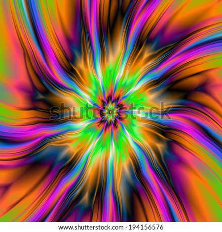 Flaming Flower / A digital abstract fractal image with a swirling flaming flower design in green, orange, pink and blue. - stock photo