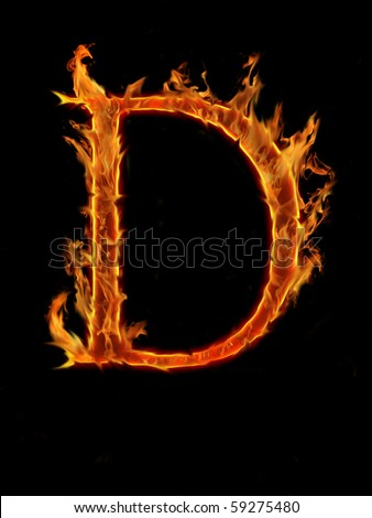 Flaming font, letter D - stock photo