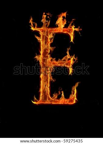 Flaming font, letter E - stock photo