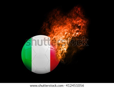 Flaming Football Ball on black background with team flags, Europe 2016. Group E, Italy - stock photo