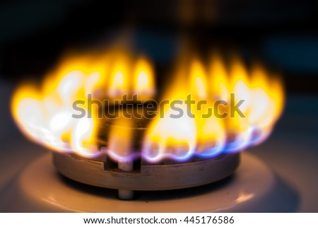 flaming gas in the dark - stock photo