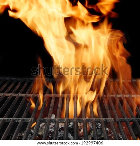 Flaming Grill and Burning Charcoal. You can see more BBQ food, BBQ Tools, Flaming Grill, Burning&Glowing Coal in my image gallery and public sets.  - stock photo