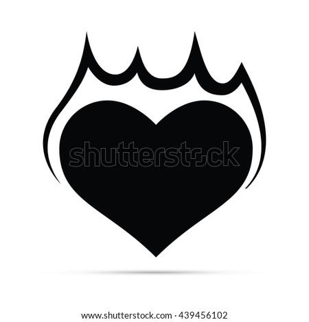 Flaming Heart Icon.  Raster Version - stock photo