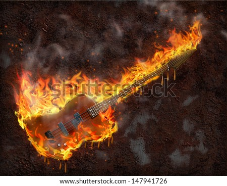 Flaming melting guitar and rusted metal surface - stock photo