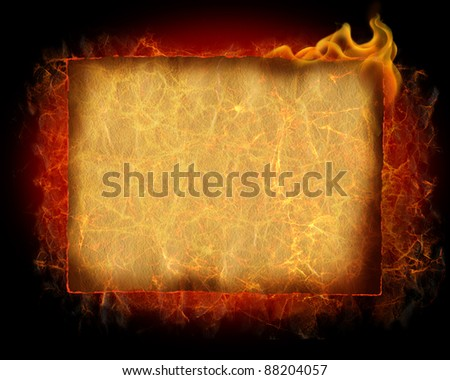 flaming old paper background / horizontal