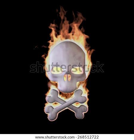 Flaming Skull: Burning skull isolated on Black (Rendering in the Three-dimensional Design Program) - stock photo