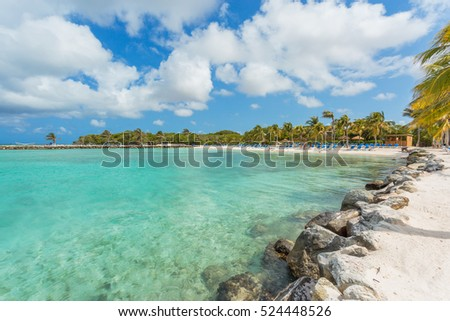Flamingo beach at Aruba island