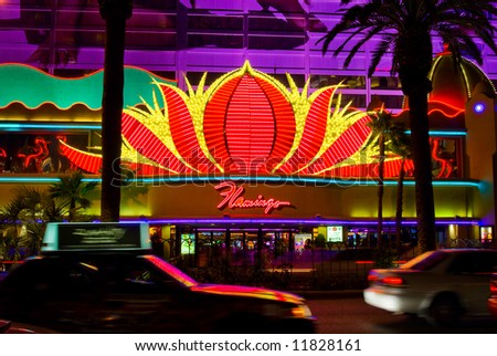 Flamingo Casino in Las Vegas at night - stock photo