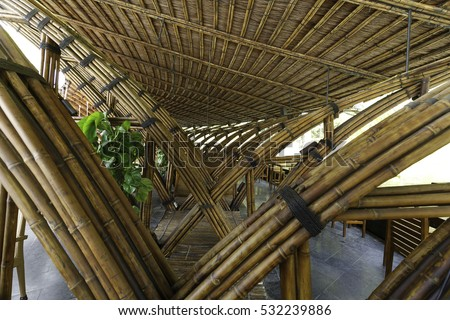 Flamingo Dai Lai resort, Vinh Phuc province, Vietnam - October 12, 2016 : luxurious restaurant made entirely of bamboo materials. Designed in contemporary style at Vinh Phuc Province, Vietnam