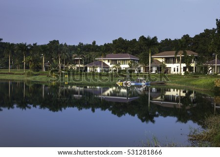 Flamingo Dai Lai, Vinh Phuc province, Vietnam - October 11, 2016 : reflection of villa in the lake at Flamingo Dai Lai resort of Vinh Phuc Province, Vietnam