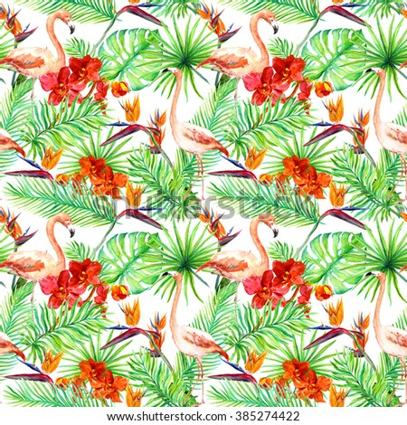 Flamingo, tropical leaves and exotic flowers. Seamless jungle background. Watercolor - stock photo