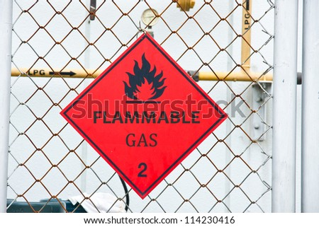 Flammable Gas Hazard Warning Sign - stock photo