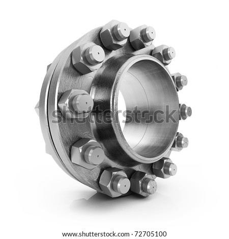 Flanges, nuts, bolts, tubes isolated on white background - stock photo