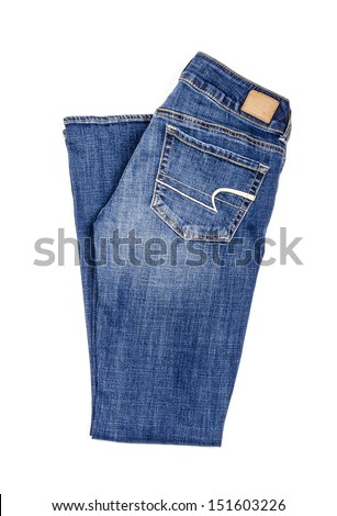 Flared Blue Jeans Isolated on White - stock photo