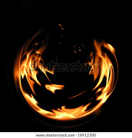 Flaring fire on a black background