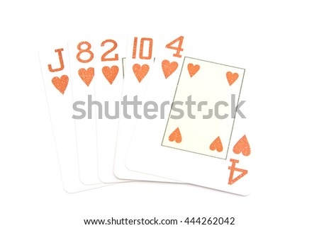 flash combination of playing cards on white  - stock photo