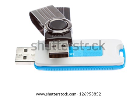 Flash drives for data storage. On a white background. - stock photo