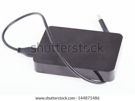 flash hard drive isolated on white background - stock photo