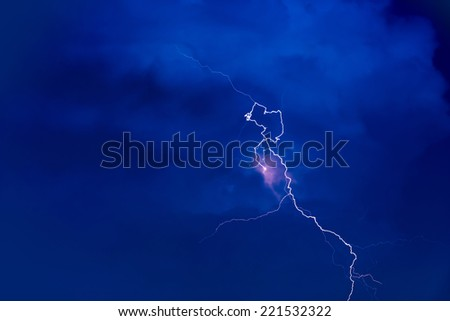 Flash In Dark blue Sky - stock photo