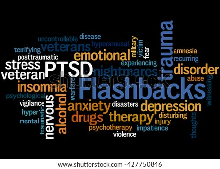 Flashbacks, word cloud concept on black background.