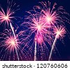flashes of a festive firework in the night sky - stock photo