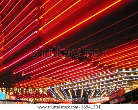 Flashing red Neon Signs of Freemont Casino Las Vegas Nevada America USA - stock photo