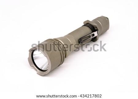 Flashlight grey color on the white background. - stock photo
