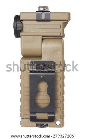 Flashlight that can have its bulbs rotated to either side isolated on white - stock photo
