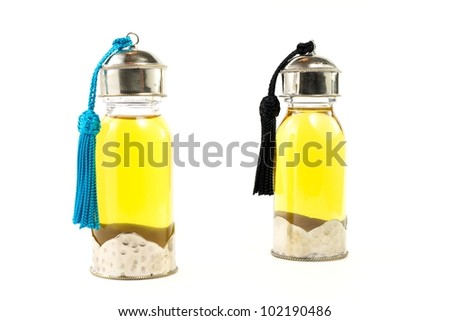 Flask with argan oil - stock photo