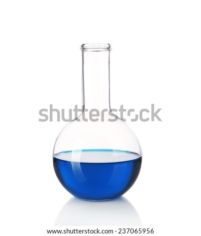 Flask with blue fluid isolated on white