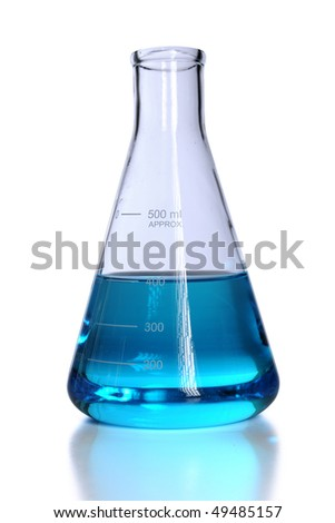 Flask with blue liquid isolated over white background - stock photo