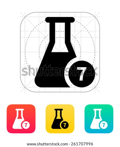 Flask with number icon on white background. - stock photo