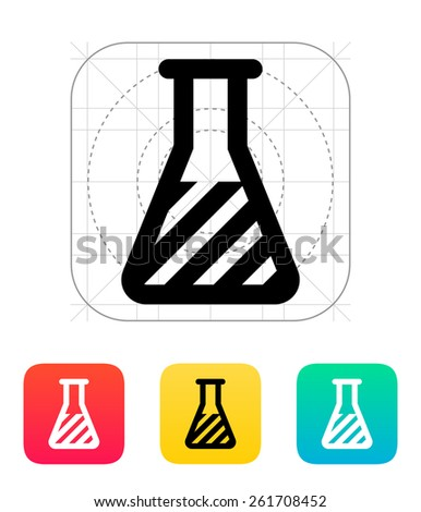 Flask with substance icon on white background. - stock photo