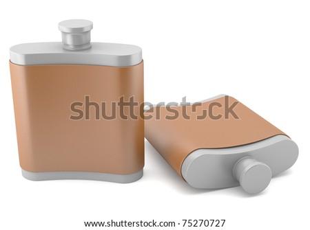 Flasks isolated on white background - stock photo