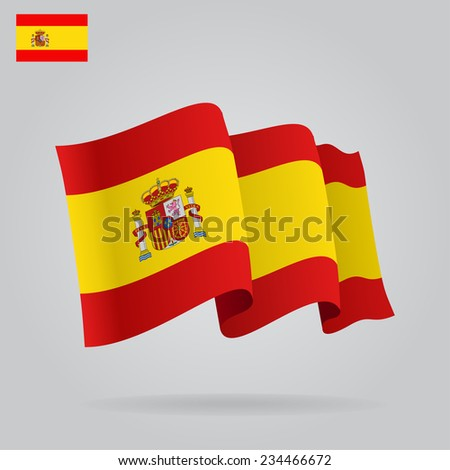 Flat and waving Spanish Flag. Raster version - stock photo