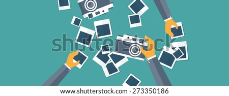 Flat background with hand and photos. Travel. Selfie and images sharing. - stock photo