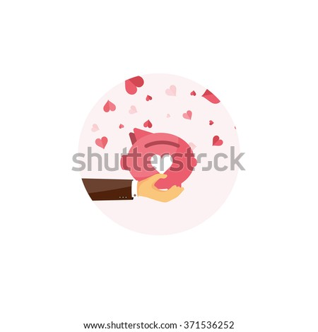 Flat background with piggy bank. Love, hearts. Valentines day. Be my valentine. 14 february.  Message. - stock photo