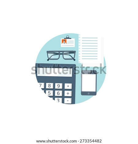 Flat background. Workplace. Calculator, glasses, smartphone and papers. Documents and finance. Job center. Business analytics. - stock photo