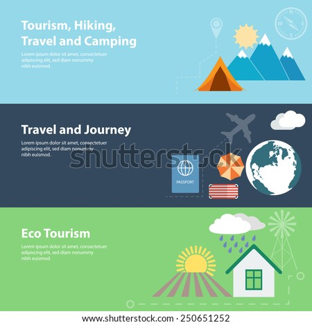 Flat banners with tourism, vacation, camping and eco tourism concepts. Raster version - stock photo