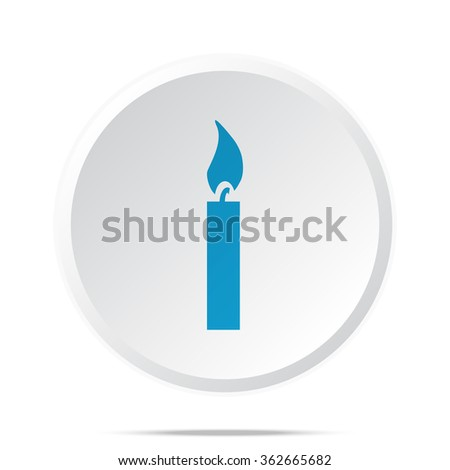 Flat blue Candle Light icon on circle web button on white