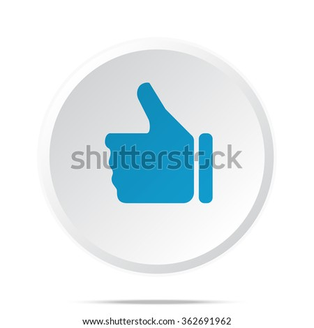Flat blue Thumb Up icon on circle web button on white