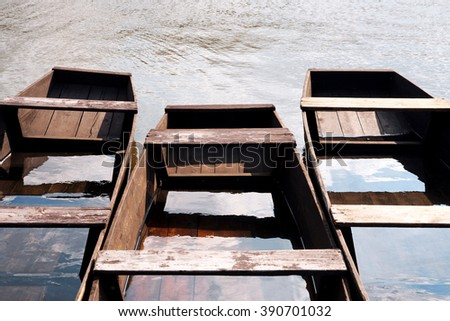 Flat boats on the river,Hungary - stock photo
