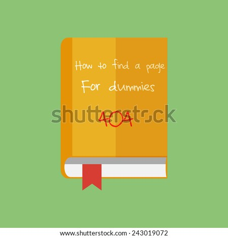 Flat book icon. How to find a page in Internet. Network guide. - stock photo